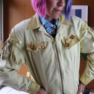 VTG SUN yellow leather jacket w/ fringe